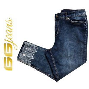 GG Jeans Slim Fit Capri Jean Embellished Hem